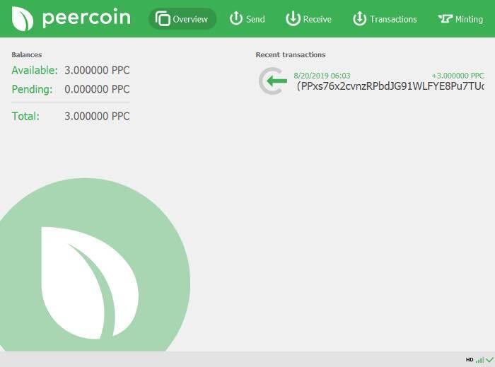 Minting in der Peercoin-Wallet