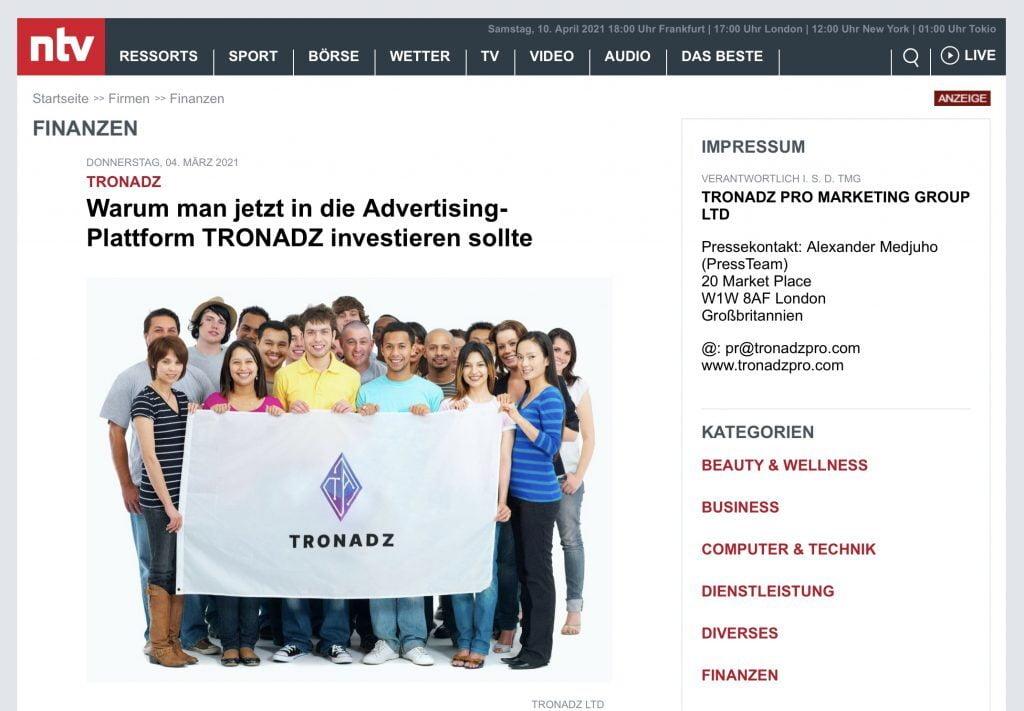 TronAdz-Anzeige n-tv